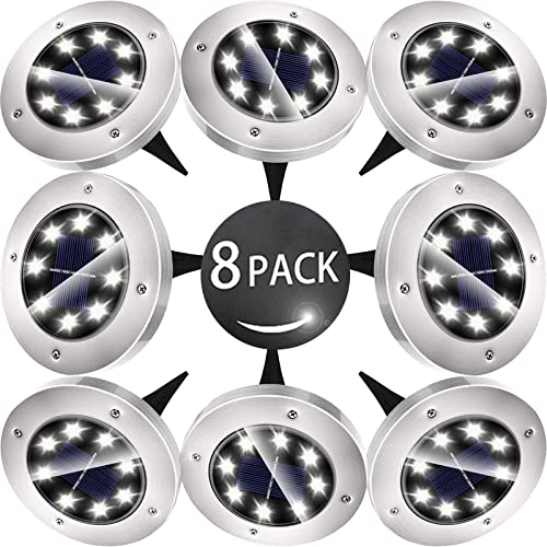 Biling Solar Disk Lights Outdoor, 8 LED Bulbs Solar Ground Lights Outdoor Waterproof for Garden Yard Patio Pathway Lawn Driveway – White 8 Pack
