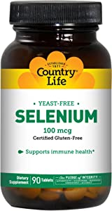 Country Life Selenium 100mcg - 90 Count - May Help Support Immune Health - Yeast Free