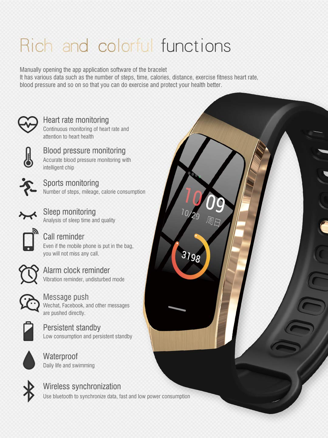 Byoung Activity Tracker Smart Watch,Kid Fitness Tracker with Heart Rate Monitor Smart Sport Watch Step Counter Sleep Monitor Sedentary Clock Remind Pedometer Calories Counter for iOS Andriod Gift by Byoung (Image #4)