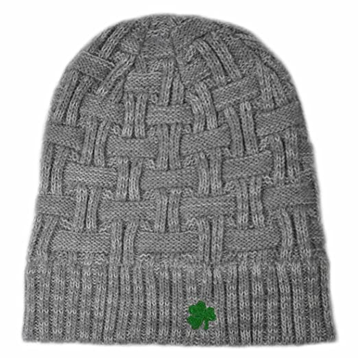 3109de099841ec Image Unavailable. Image not available for. Color: Man Of Aran Acrylic  Basket Weave Beanie Hat Grey Colour with Green Embroidered Shamrock