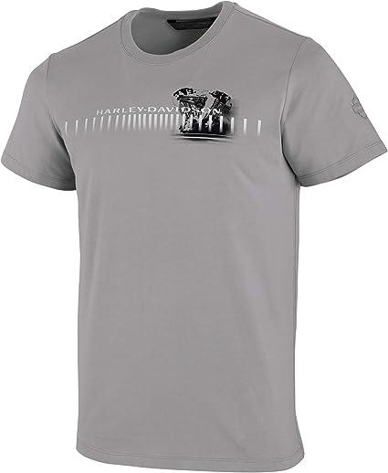 Harley-Davidson - Camiseta de manga corta para hombre, diseño de motor horizontal, color gris - Gris - Large: Amazon.es: Ropa y accesorios