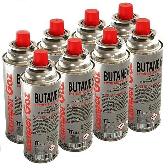 Pack de 8 cartucho gas Camper Gas 227 gr butano – Botella de Gas con baillonnette 227 gr – Bombona para réchauds Camping