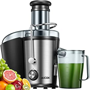 Juicer Machines, Aicok Juicer with 3''Wide Mouth, Easy to Clean, 800W Dual Speed Juice Extractor for Fruits & Vegetables, Anti-drip Mouth, Non-slip feet, BPA Free