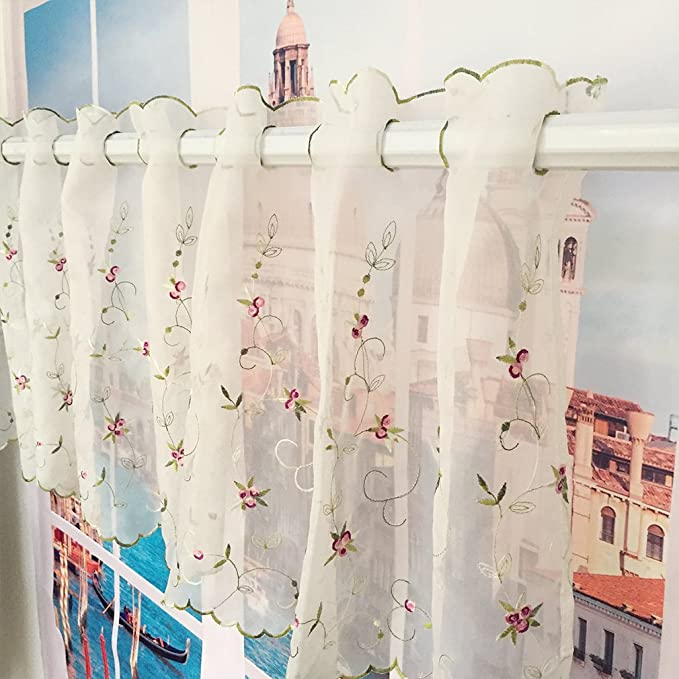 Morning Glory Pattern Cafe Curtain,Pastoral Style Two-Layer Embroidered Floral Window Valance 59 by 27-inch,Pink by ZHH