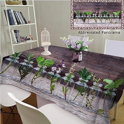 Amavam Unique Custom Cotton Linen Tablecloths Bottle Essential Oil Herbs Holy Basil Flower Rosemary