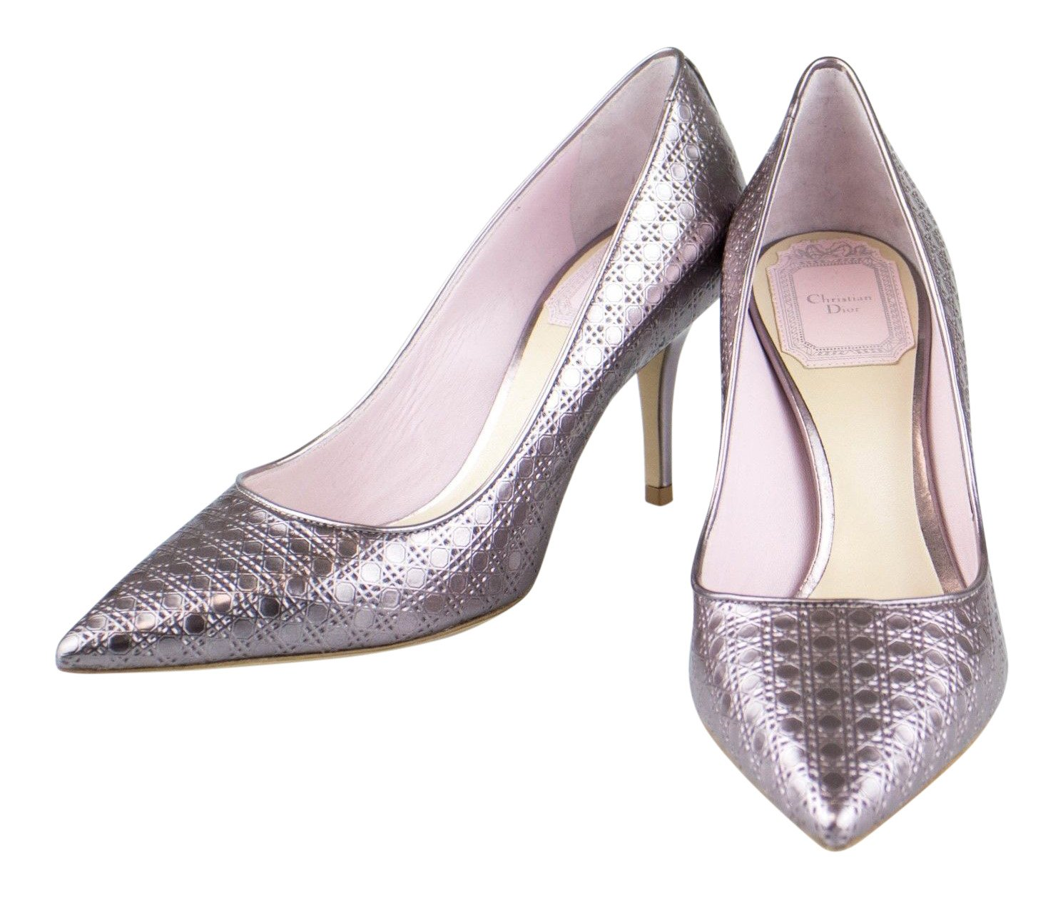 725017bd CHRISTIAN DIOR 'Cherie Cannage' Metallic Rose Pump Shoes Size 5 US ...