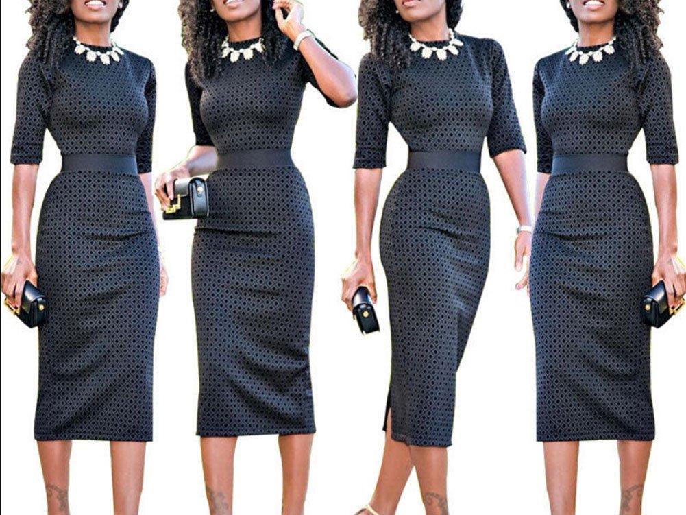 Rui Wen Women Half-Sleeve High Waist Office Formal Bodycon Dress Business (L, Black) by Rui Wen (Image #2)