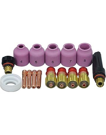 Las antorchas de soldadura TIG Stubby Gas lente Pinzas de alúmina Boquillas casquillo trasero Kit Para
