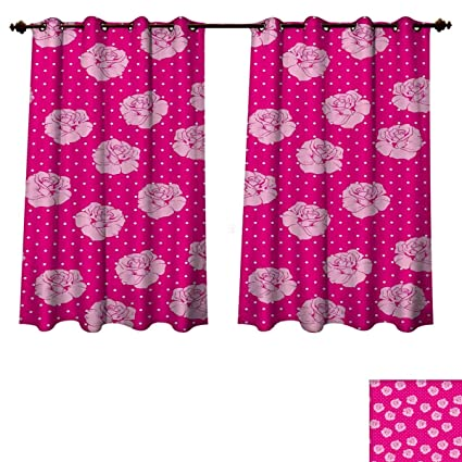 RuppertTextile Hot Pink Bedroom Thermal Blackout Curtains Vintage Pale Pink  Roses On White Dotted Background Love
