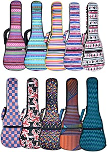 HOT SEAL 10MM Sponge Padding Waterproof Durable Colorful Conventional ukulele Case Bag with Storage … (23/24 in, Bohemia NO.2)
