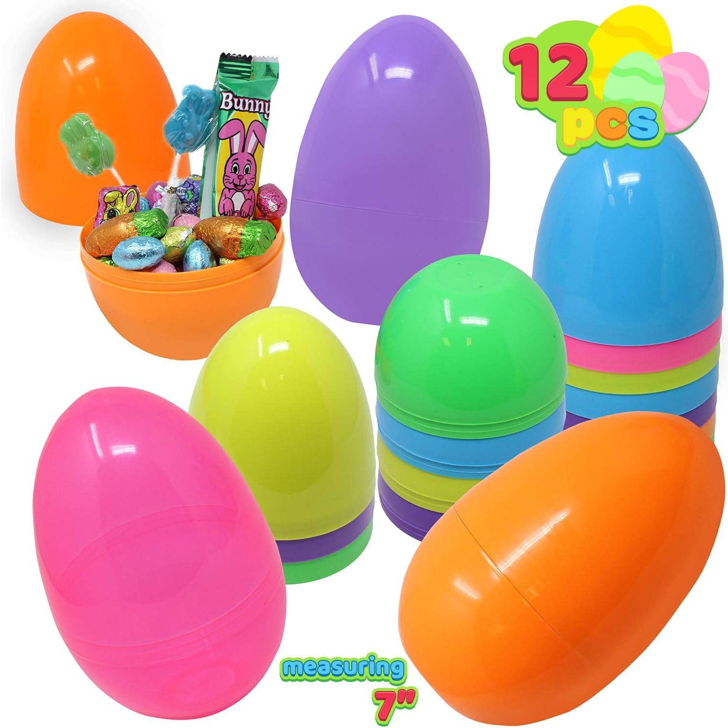 JOYIN 12 Pieces Gigante Huevos de Pascua 18CM, con Mini Regalo de Juguete