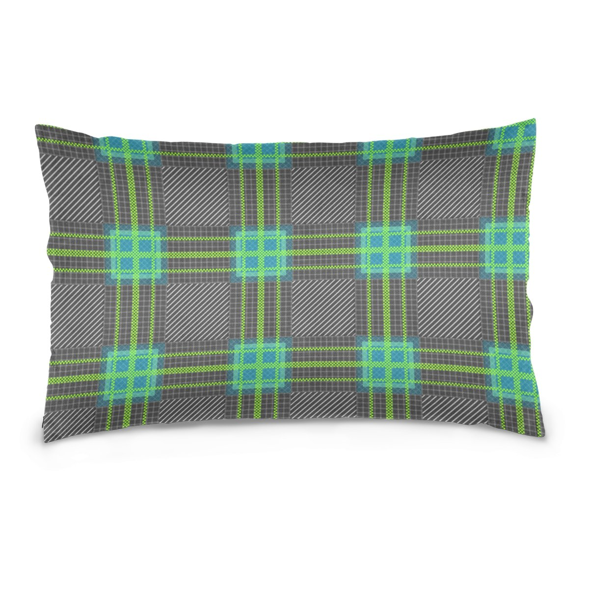 Top Carpenter Tartan Plaid Velvet Oblong Lumbar Plush Throw Pillow Cover/Shams Cushion Case - 20x36in - Decorative Invisible Zipper Design for Couch Sofa Pillowcase Only