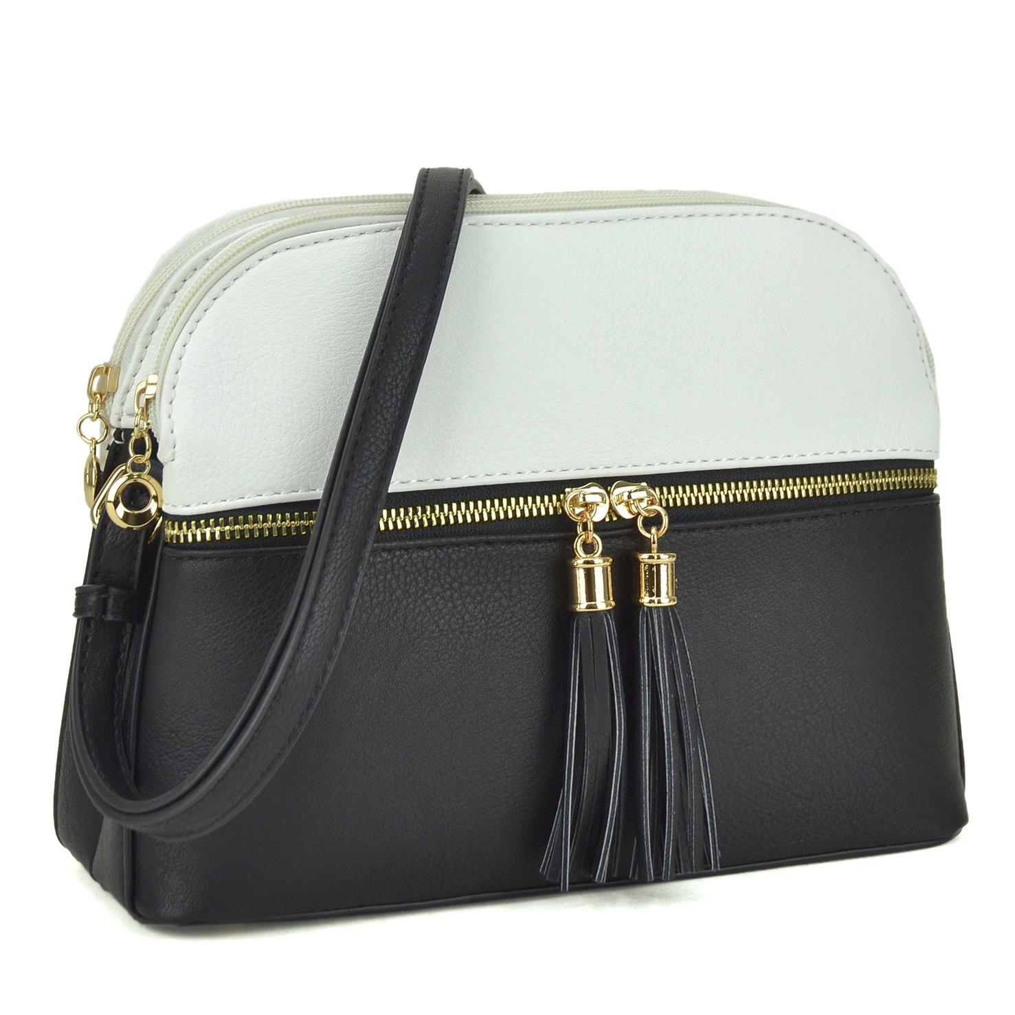 Lightweight Women Crossbody Bags,Travel Shoulder Messenger Purse Medium Size Clutch Multi Zipper Designer Satchel for All Seasons (MKP-JC-LP050-WT/BK)