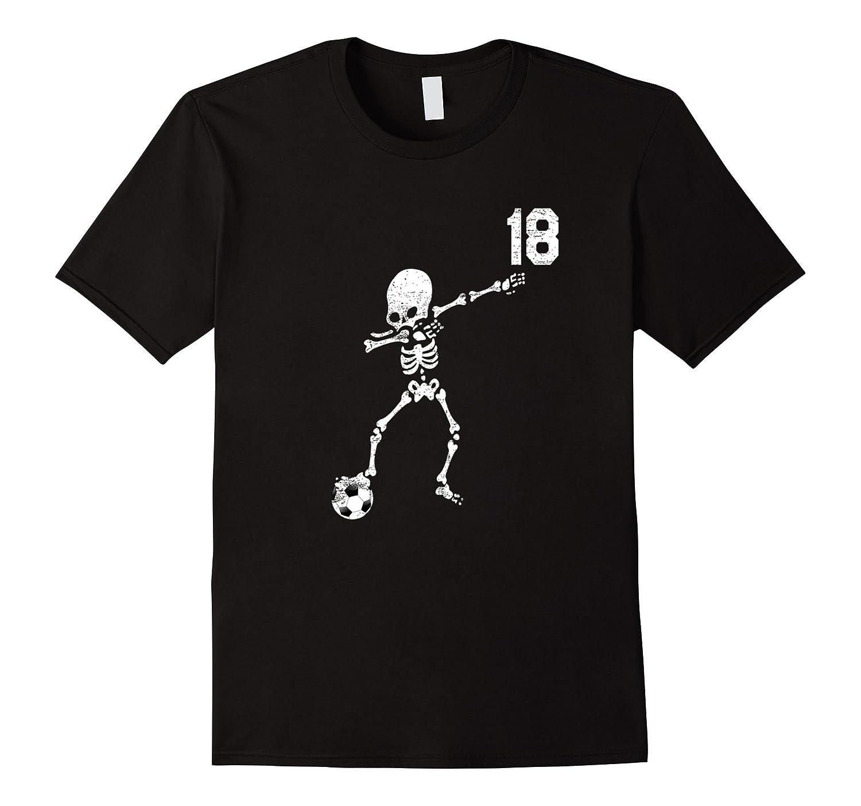 #18 Soccer Ball Skeleton Dabbing Funny Halloween Dab Tshirt-FL