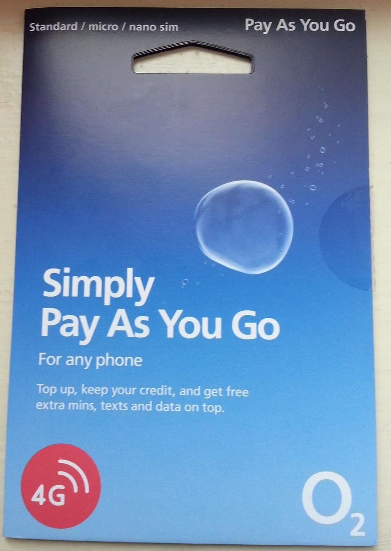 O2 simplemente Pay as you go SIM tarjeta entrega gratuita Reino ...
