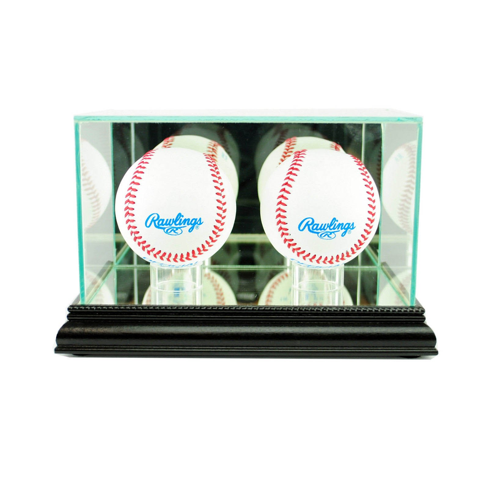 Glass Double Baseball Display Case Uv Protection Black Wood And Mirror Back