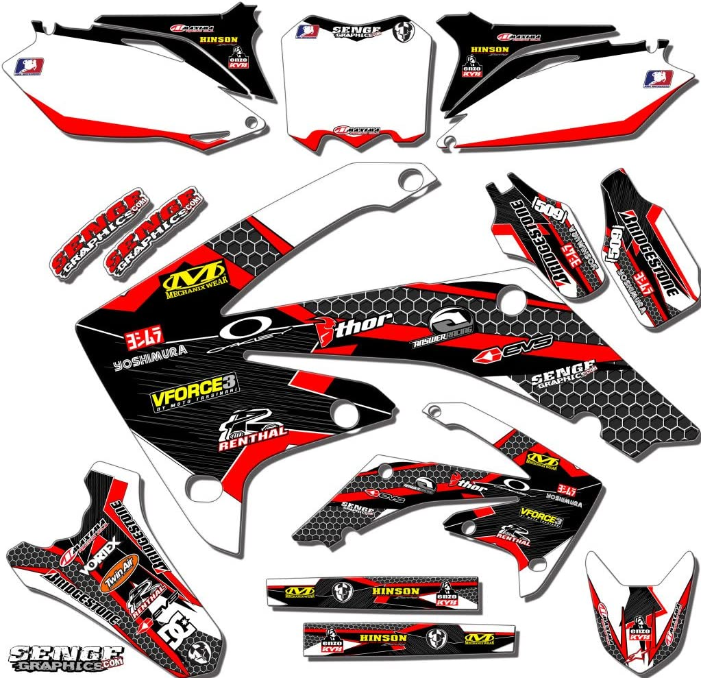 Works Red Complete Graphics Kit with RIDER I.D. compatible with Honda 2002-2012 CR 250 WITH POLISPORT RESYLED PLASTICS CUSTOMIZABLE Senge Graphics Kit with RIDER I.D