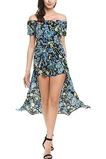 e80232497d84 BLUETIME Womens Flower Floral Off Shoulder Short Sleeves Split Jumpsuit  Romper Bodycon Playsuit Long Dress Maxi