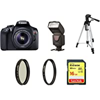 Canon EOS Rebel T6 Digital SLR Camera Kit with EF-S 18-55mm f/3.5-5.6 IS II Lens (Black) with 60 inch tripod, 16GB memory card, UV filter, Polarizer and Flash