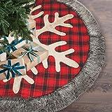 Generep Burlap Snowflake Christmas Tree Skirt, Classic Red & Black Large Buffalo Plaid Holiday Tree Skirt, 48-inch Diameter R