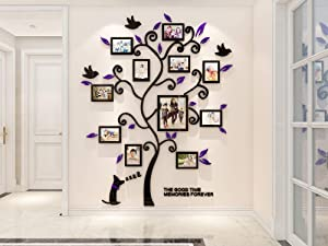KINBEDY 3D Acrylic Tree Wall Stickers Photo Frames Family Tree Wall Decal Easy to Install &Apply DIY Photo Gallery Frame Decor Sticker Home Art Decor, Purple Leaves with Dog.