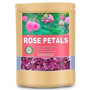 Food Grade Rose Petals, Rose Flower Tea, 100% Dried Rose Flower Herb Tea (Rose Petals, 2.0 oz)
