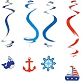 Nautical Dangling Swirl Party Decorations - 12 ct