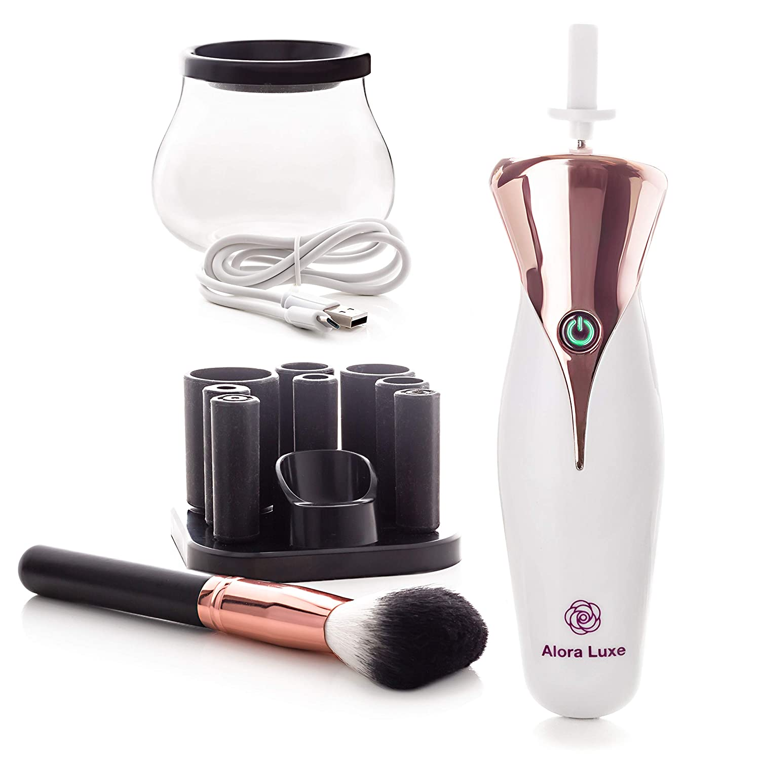Makeup Brush Cleaner and Dryer by Alora Luxe – Electric Automated Spinner Cleaning Machine - USB Rechargeable Premium Makeup Cleaner for Brushes : Bonus Makeup Brush Included