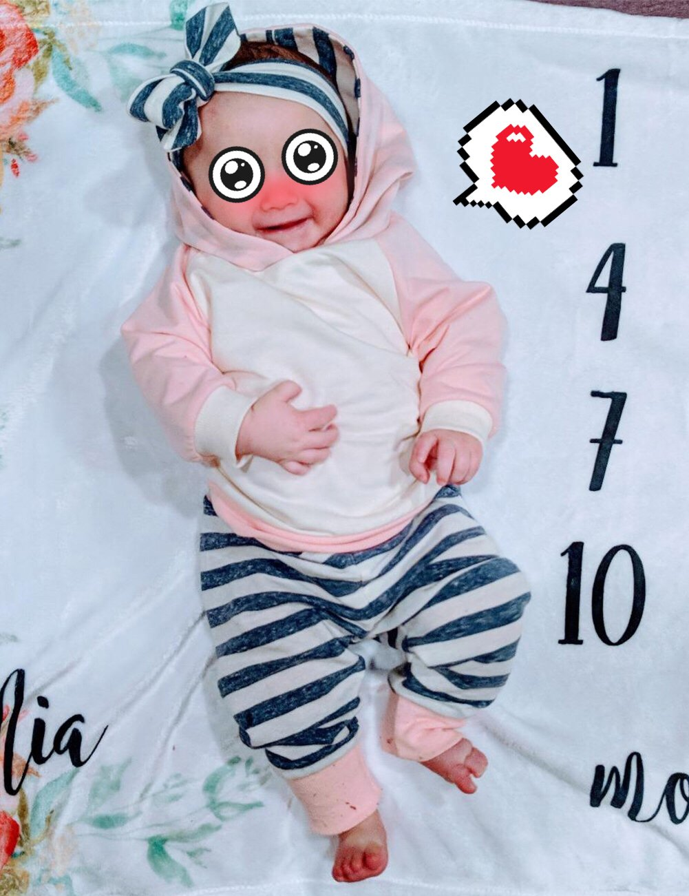 Baby Girls' Clothes Long Sleeve Hoodie Tops, Striped Pants+Headband Outfits Set (18-24 Months) by TUEMOS (Image #7)