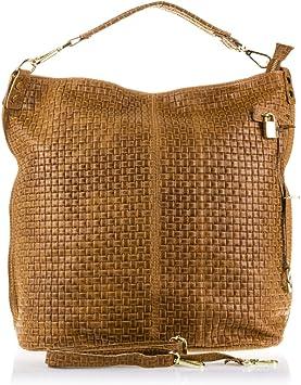 FIRENZE ARTEGIANI.Bolso Shopping Bag de Mujer Piel auténtica.Bolso Cuero Genuino Acabado Grabado Motivo Trenzado geométrico y Lacado. Made IN Italy.