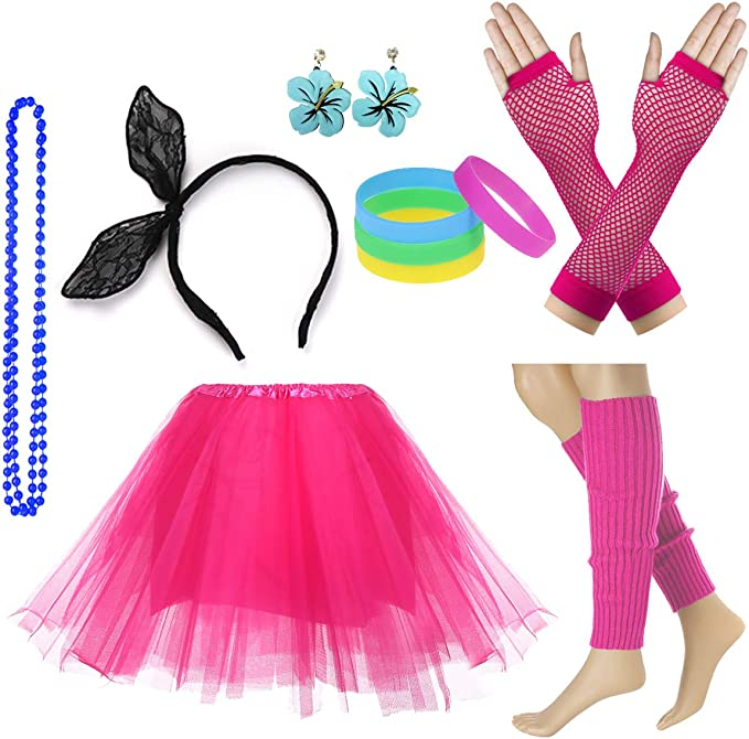 MADE IN THE 80s Ladies Drop Top /& Accessories Fancy Dress Costume Outfit Neon