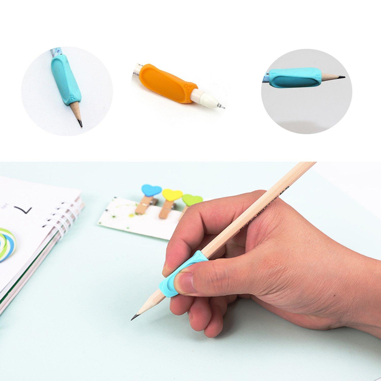 8pcs La poign/ée de crayon Grip crossover /Écriture ergonomique Aide poign/ées crayon triangle silicone pour les enfants griffe d/écriture,Couleurs et styles assortis Adapt/é aux droits et aux gauchistes Multicolore