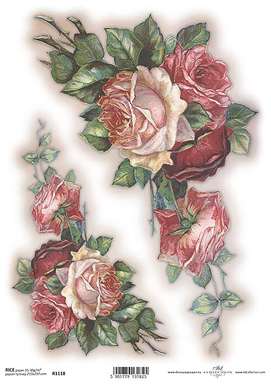 Rose Sprays Pink Flower Decoupage Rice Paper R1118-1 x A4 Sheet of decoupage Rice Paper