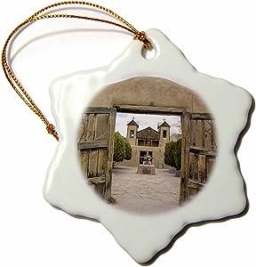3dRose ORN_92875_1 New Mexico, El Santuario De Chimayo, Church-US32 LNO0086-Luc Novovitch-Snowflake Ornament, Porcelain, 3-Inch