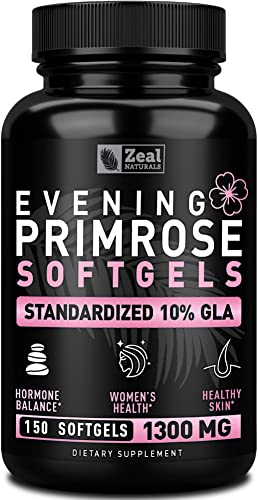 Evening Primrose Oil Capsules 150 Liquid Softgels 1300mg 100 Pure Evening Primrose Oil – Natural Supplement to Support Hormone Balance for Women, PMS Menopause Support – Cold Pressed w. 10 GLA