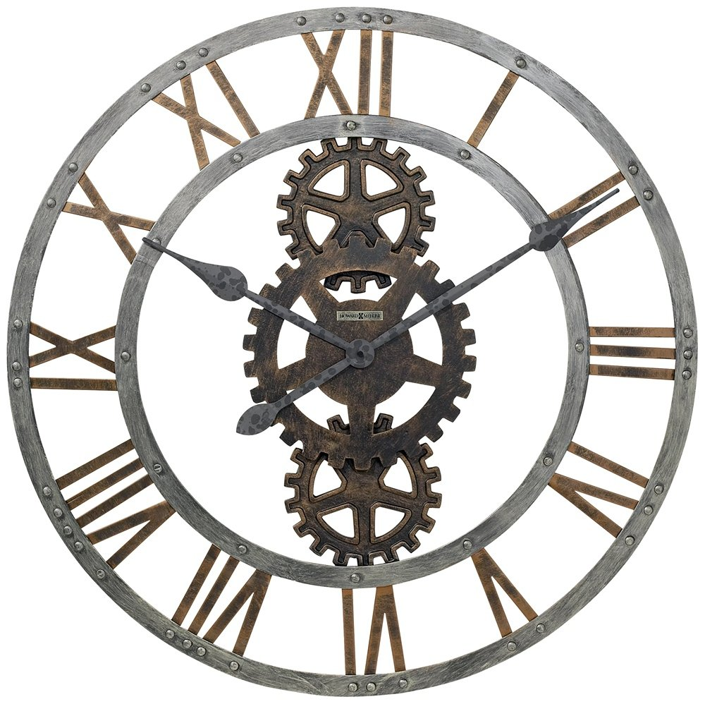 Amazon crosby wall clock in warm gray iron home kitchen amipublicfo Image collections