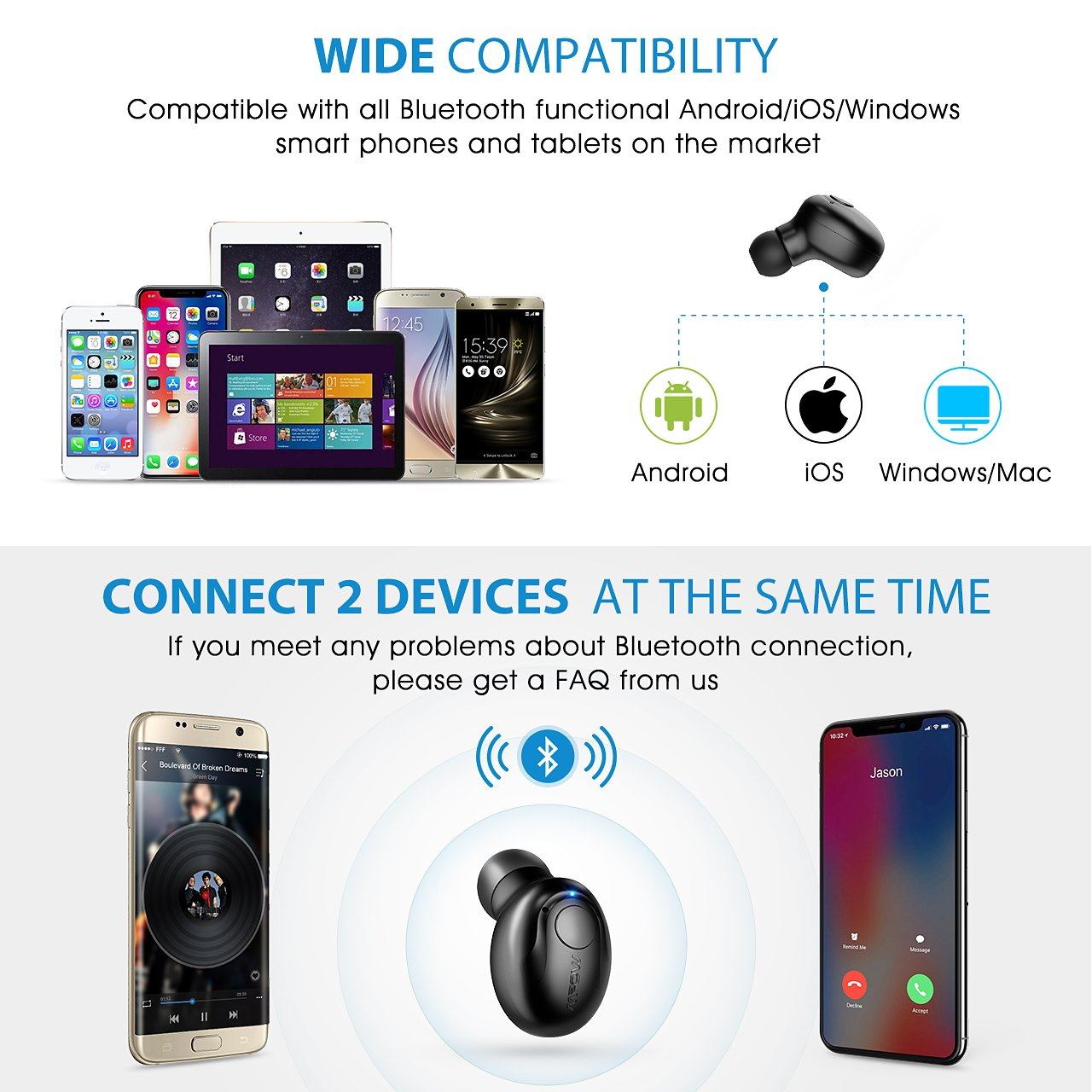 Mpow EM1 Bluetooth Earpiece, V4.1 Wireless Headphones, 6-Hr Playing Time Mini Bluetooth Earbud with Microphone, Invisible Car Bluetooth Headset for Cell Phone (One Pcs, Two Charger) by Mpow (Image #5)