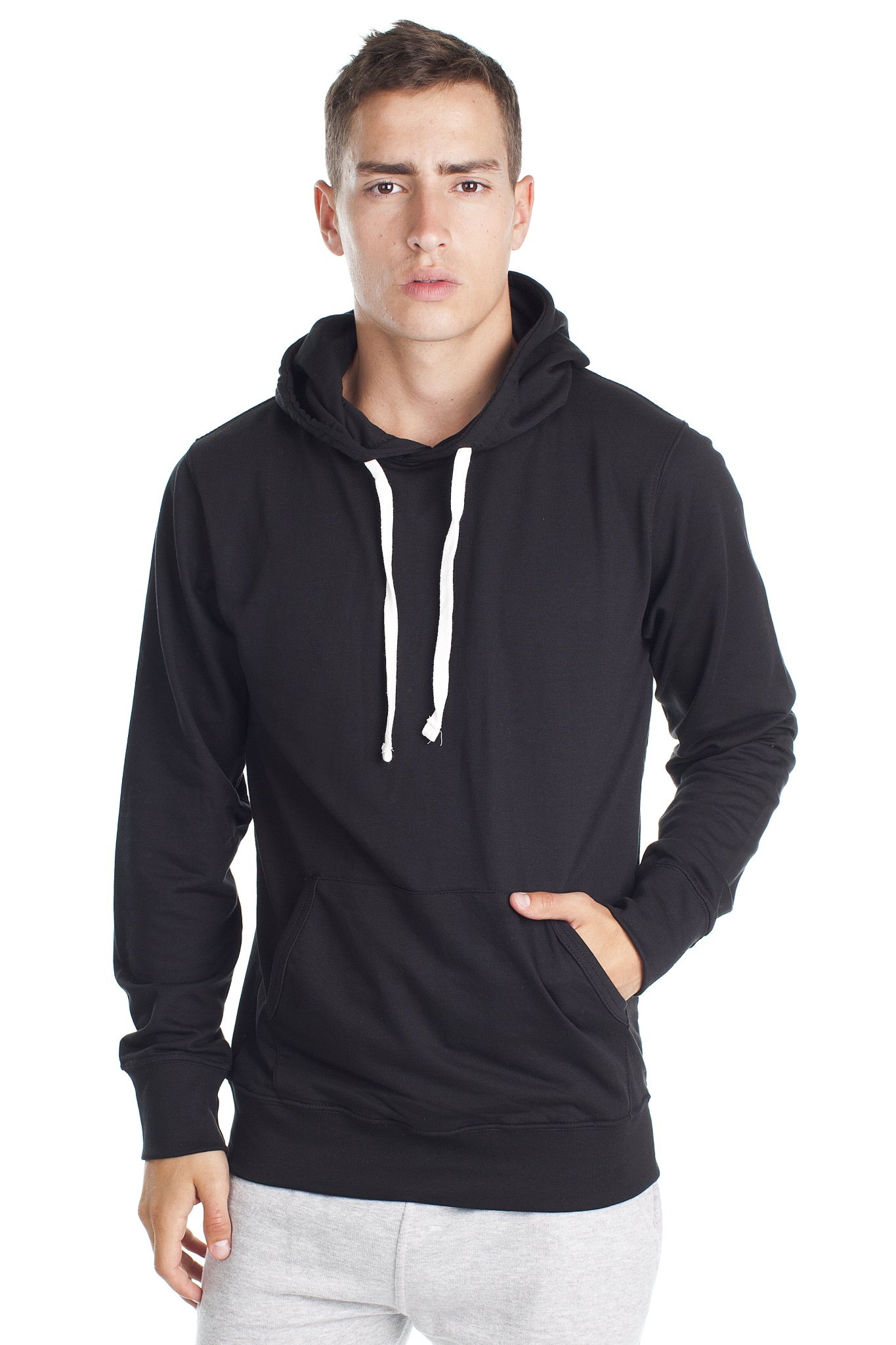 Fleece Factory Mens Pullover Sweatshirt Hoodie with Fashion Fit in French Terry, Black, Small