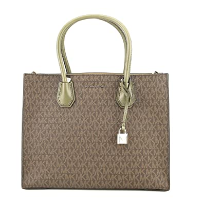 bf3736455672 Amazon.com: Michael Kors Mercer Large Logo Tote - Brown/Olive -  30S7GM9T3V-247: Shoes