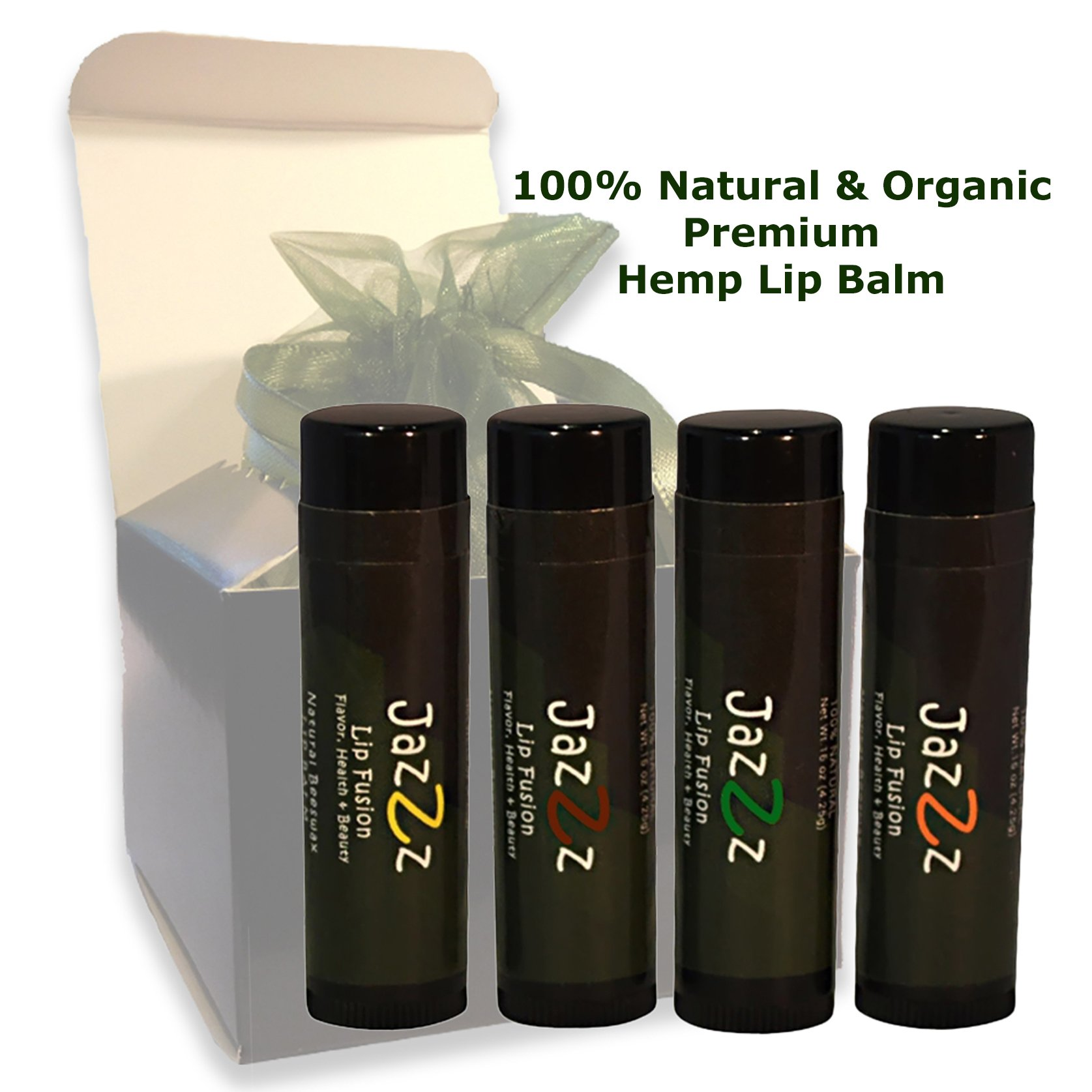 Natural Lip Balm Multi Pack, Unique Gift Idea; Lip Care Treatment Gift Set for Women and Men. 4 Exotically Flavored Chapsticks; Organic Hemp Seed Oil Lip Conditioner Repairs Chapped, Dry,Cracked Lips