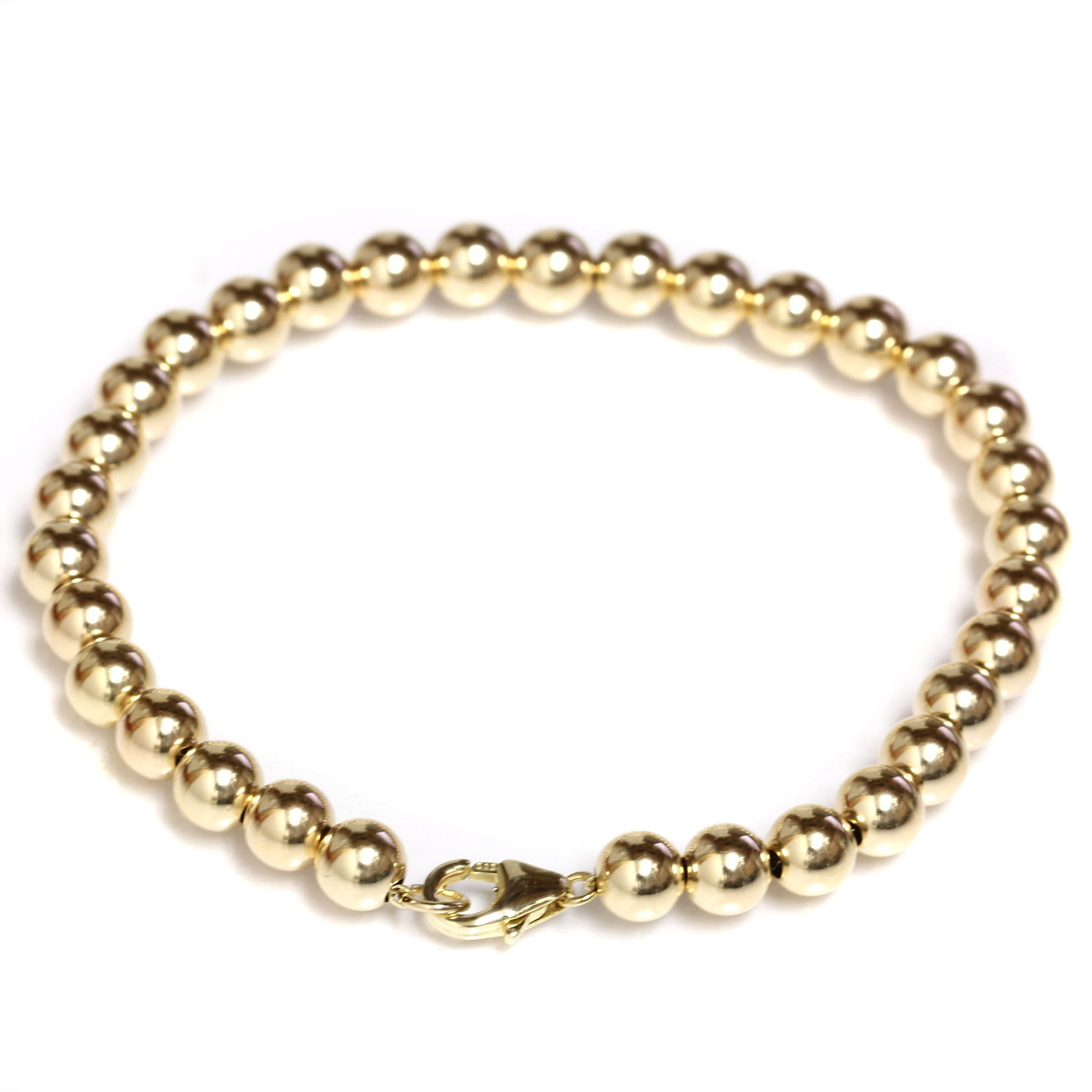Beaded Bracelet 14k Solid Yellow Gold with Lobster Clasp 5 mm Beads 6'', 6.5'', 7'', 7.5'' (yellow-gold, 6)
