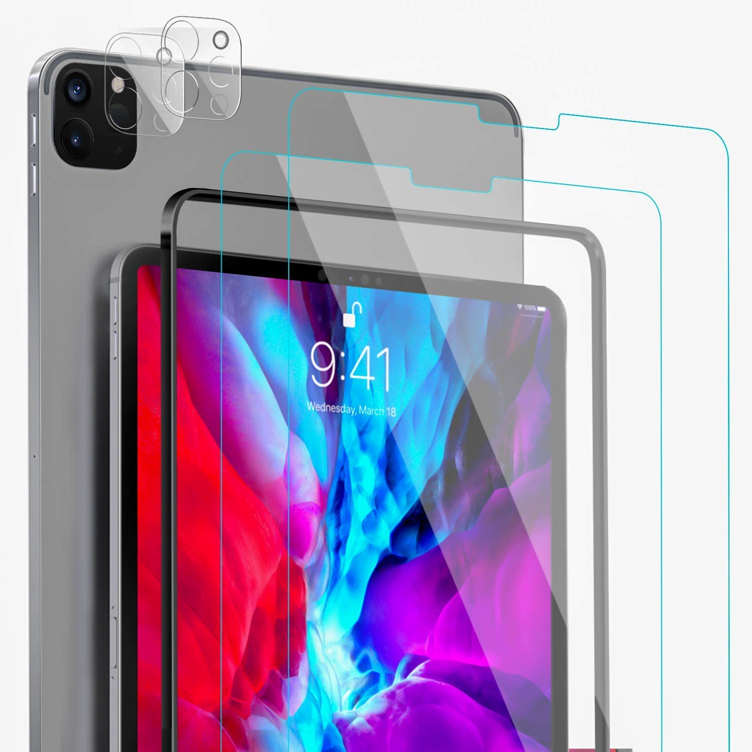 [4 Pack]2 Pack iPad Pro Tempered Glass Screen Protector+2 Pack Camera Lens Protector for iPad Pro 11 2020 2nd Generation[Alignment Frame]Compatible with Face ID&Apple Pencil/Bubble Free/Case Friendly