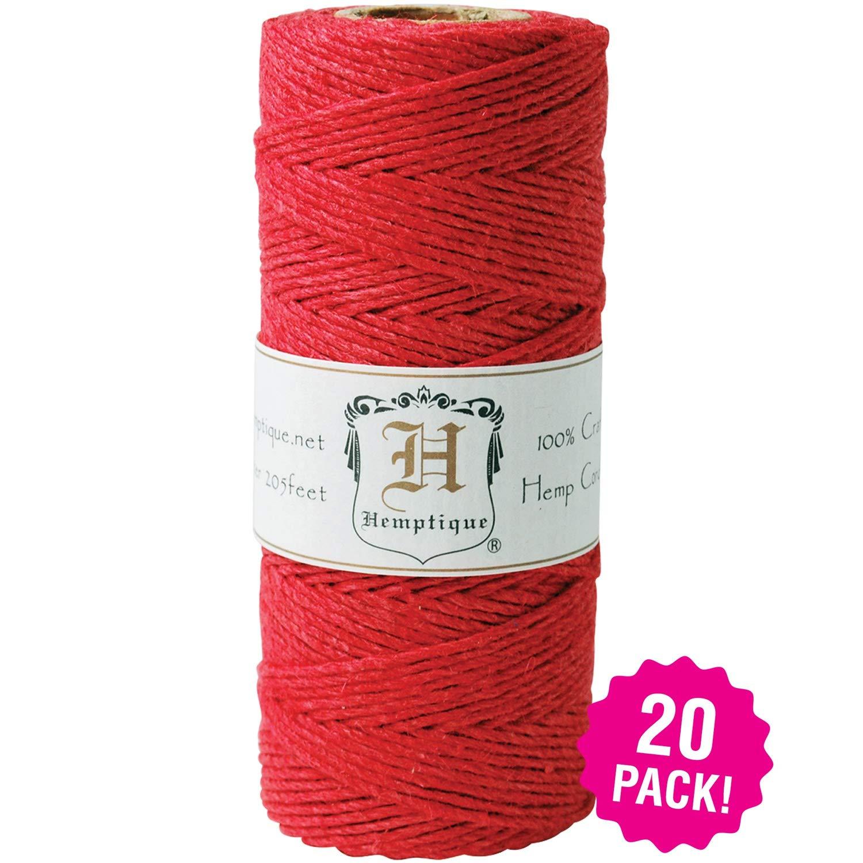 Hemptique 96497 Hemp Cord Spool 20lb 205' 20/Pkg, Red Pack by Hemptique