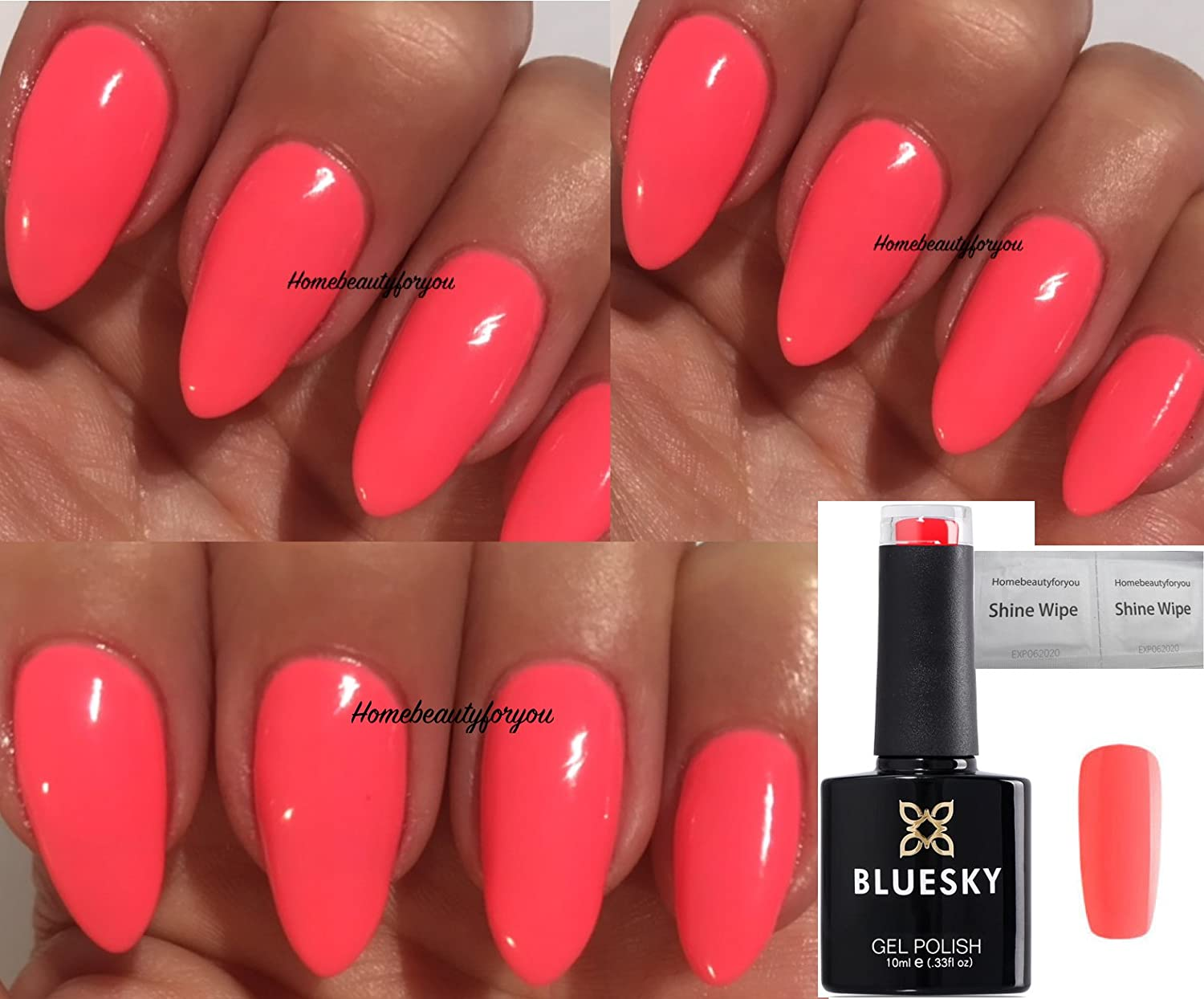 Bluesky DC55 Coral Peachy Pink Blossom Dence Range Nail Gel Polish UV LED Soak Off 10ml PLUS 2 Luvlinail Shine Wipes LTD