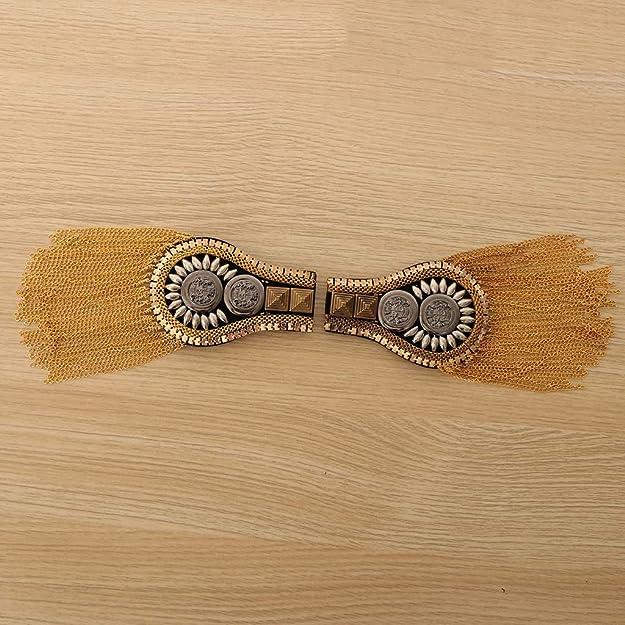 Mode Schmuck 1 Paar Quaste Epaulette Schulter Brosche Abzeichen Metallisch