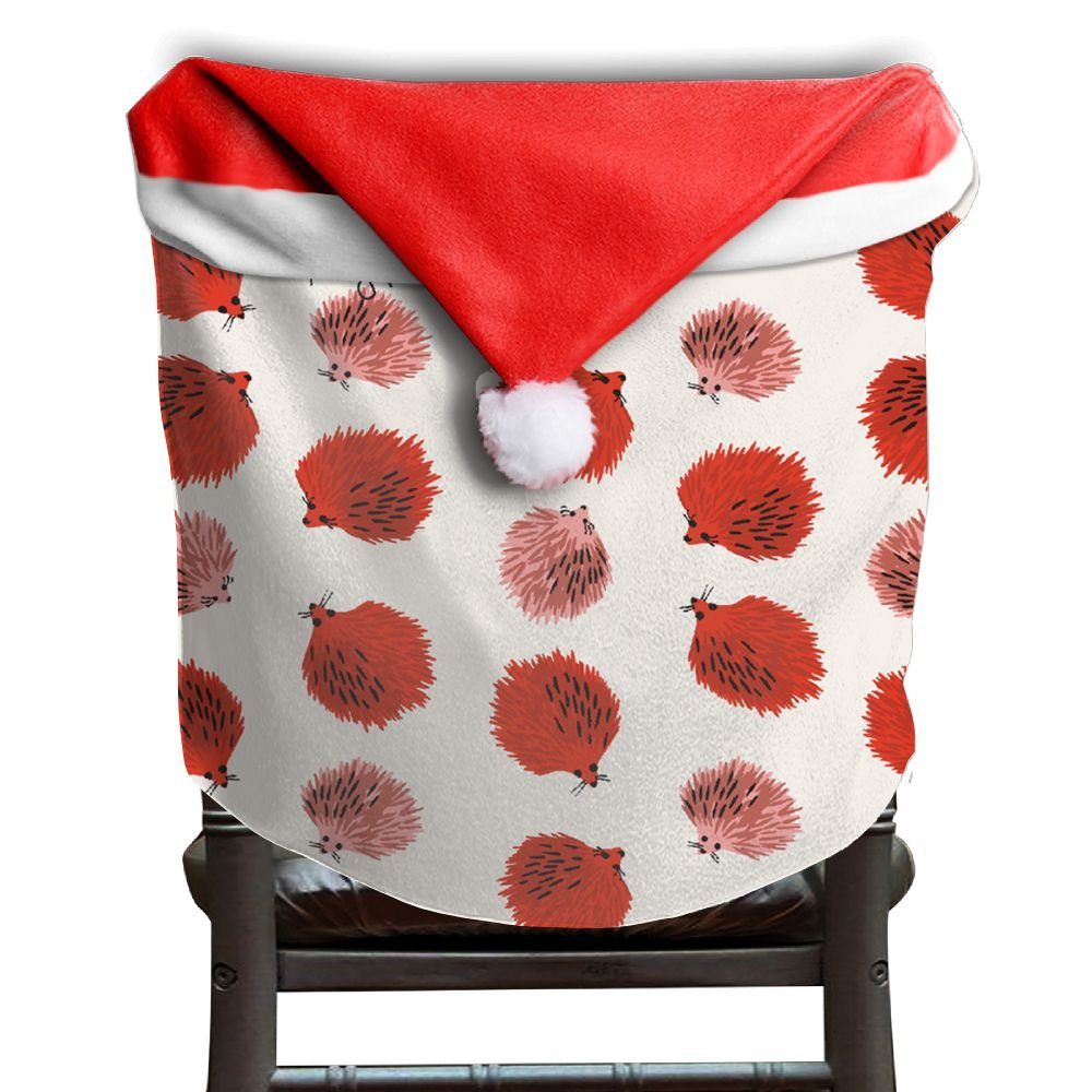 Hedgehog Animals Christmas Chair Covers Modern Design DURABLE Santa Hat Chair Covers For Family Dinner Chair Covers Holiday Festive