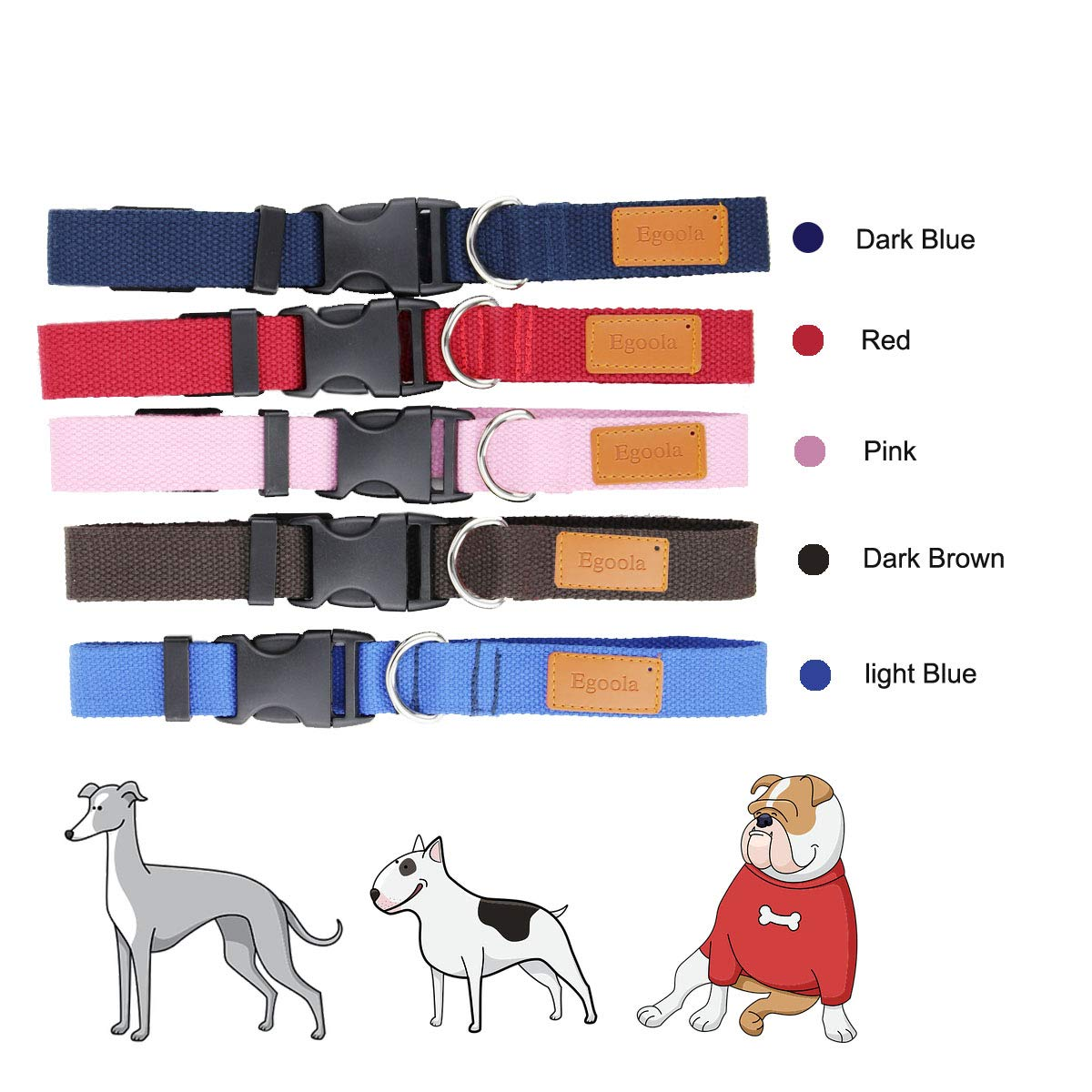 Egoola Personalized Dog Collar Custom Embroidered Pet Name and Phone Number for Small Medium Large Adjustable Dog Collars