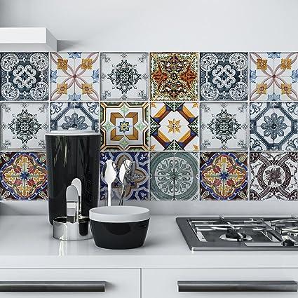 wall art (Confezione 32 Pezzi) adesivi per piastrelle formato 15x15 ...
