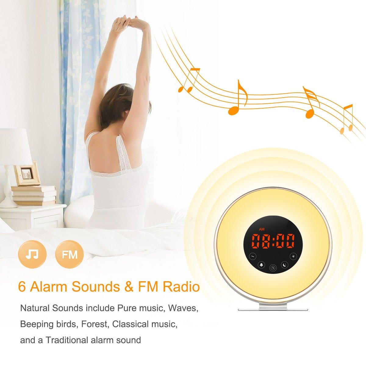 Despertador Luz Amanecer-Radio FM/Función Snooze/7 Luces Colores/6 Melodías-Reloj Despertador Digital (Negro)