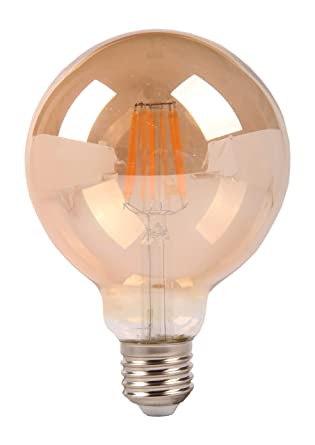 Interfan Bombilla Globo Filamento LED E27, 8 W, Blanco 12.5 x 12.5 x 17.2